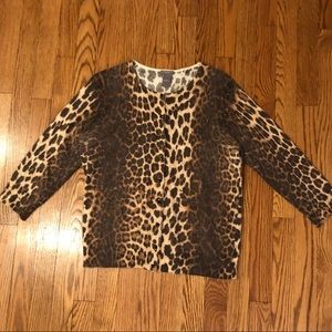 Ann Taylor Petites Button Up Leopard Cardigan